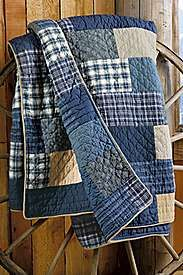 "Made from thrifted flannel shirts and softly worn denim -- heavy but soft. Durable for picnics or the car, or a ""floor cloth"" for little kids. Like this better than all denim."