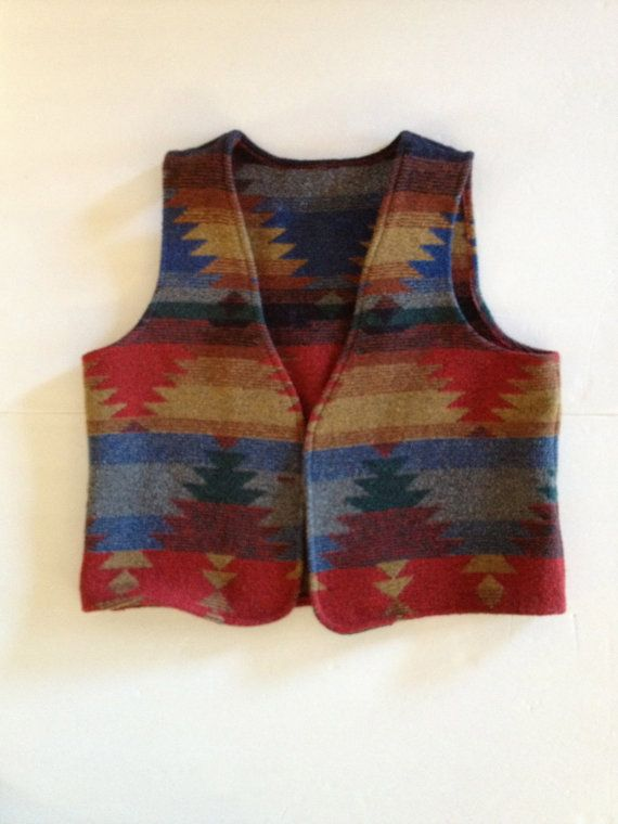 Ethnic Blanket Vest / Tribal Boho Style / Vintage Navajo Pattern Wool Stripe / Reds Blues Tans Golds / Cowboy Cowgirl Country Western
