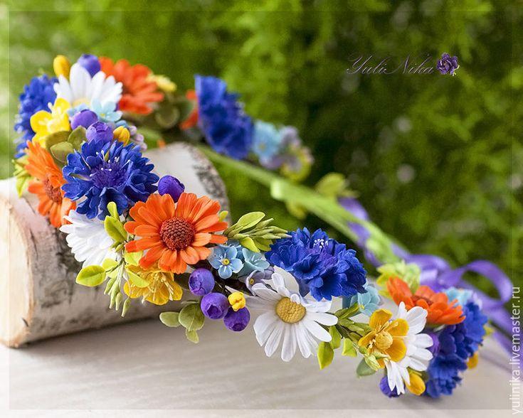 Купить Венок с полевыми цветами - васильковый, полевые цветы, цветы из полимерной глины, венки на голову