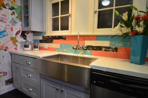 Stainless steel farmers sink with rustic wood backsplash for 7 x 9 kitchen cabinets