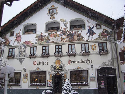Garmisch-Partenkirchen, Germany. Memorable because of the painting on the facades of many of the buildings.