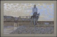 alex colville - seeing-eye dog, man and bridge (1968)