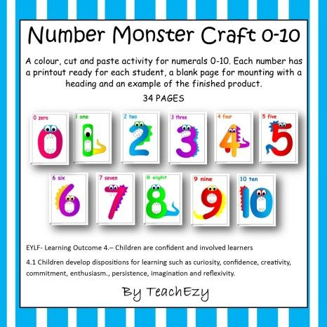 Numbers Monster Craft. #EYLF Outcome 4.1 Children develop dispositions for learning. www.earlychildhood.com