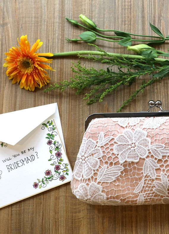 Invite your bridesmaids with a hand drawn card inside a pretty lace clutch bag   Wedding, bridal and bridesmaids clutches by ANGEEW