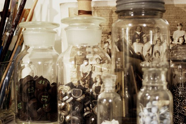 Collections--Vintage jars & photos by Rebecca Sower, via Flickr