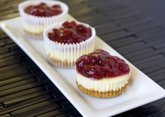 Mini Vanilla Cheesecakes with Cranberry Topping - fun Thanksgiving dessert!