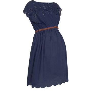 Exclusives New Look Maternity Navy Broderie Panel Tea Dress #teadress #maternity #women #covetme