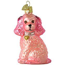 Old World Christmas Poodle Glass Ornament- Pink