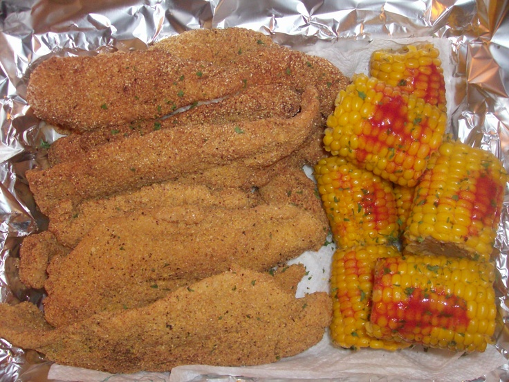 FRESH TROUT out the sea, into a hott frying pan with corn on the cob ...