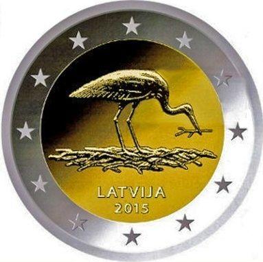 """Moneta commemorativa """"Cicogna"""" ANNO: 2015 STATO: LETTONIA"""
