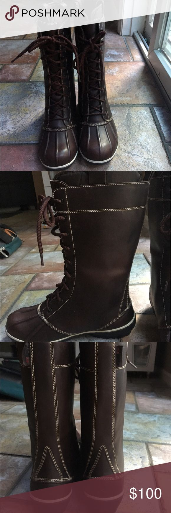 Tall brown LL bean boots Worn once! Super warm with liners. Dark brown, really cute. Will be marking with a small X so they cannot be returned for a full store credit. L.L. Bean Shoes Winter & Rain Boots