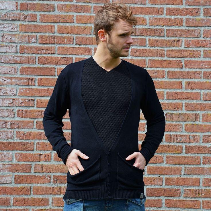 Long V neck vest black €14,99 http://mymenfashion.com/long-v-neck-vest-black.html