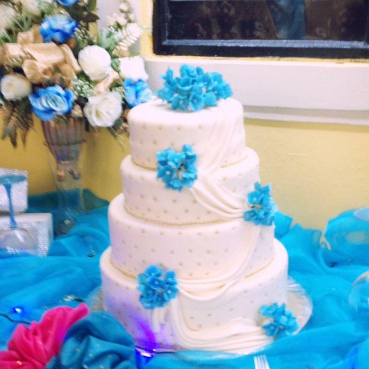 Wedding Cake, blue and white...Splurge, Treat Yourself! Follow us on Facebook: https://m.facebook.com/splurgedessertsandcatering/ Now serving Durham Region, Ontario, Canada