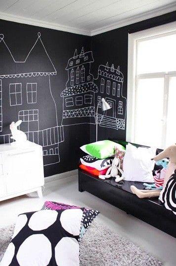 unisex boys girls kids room childrens bedroom childs black white blackboard chalkboard paint - love the black white abd gray theme!