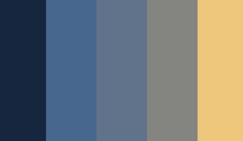 navy, blues, grey, vintage yellow colors palette