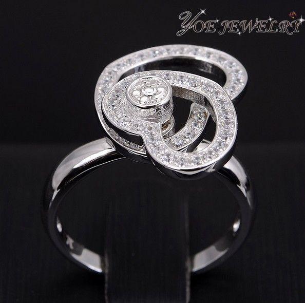 Подарков летию сладкая парочка циркон кольца для женщин платиновым покрытием двойной любовь форма ну вечеринку кольца ювелирные изделия.