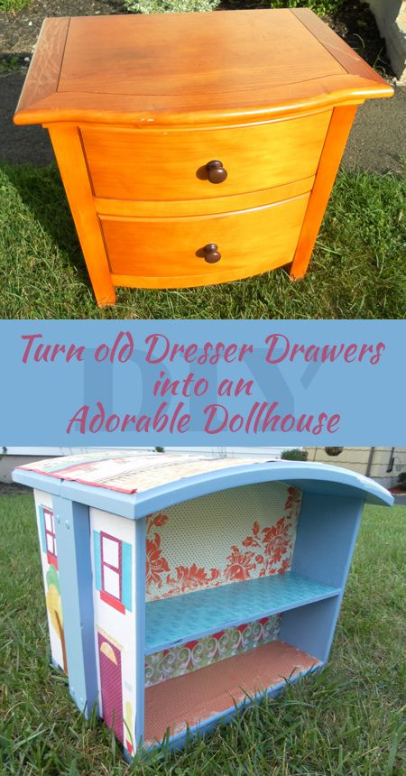 How to Turn Old Dresser Drawers Into and Adorable DIY Dollhouse: what a great idea and great way to repurpose furniture, repurpose a dres ser or nightstand! Love this genius DIY project!