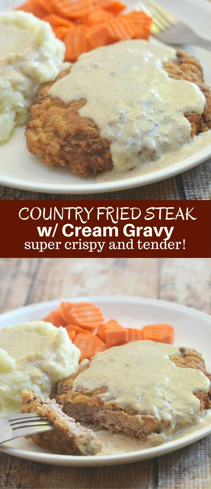 Country Fried Steak with Creamy Gravy made crispy, super tender and tasty using a buttermilk marinade. Hearty and delicious with a flavorful milk gravy, it is the ultimate comfort food.  via @lalainespins