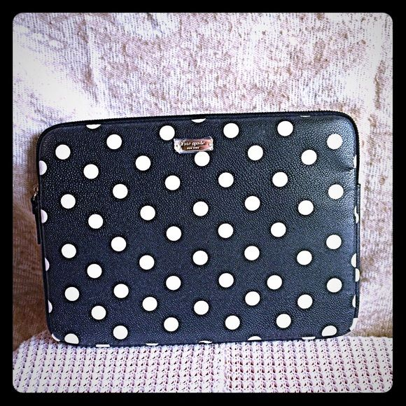 NWOT KATE SPADE POLKA DOT TABLET LAPTOP SLEEVE New without tags. Retail $65. Made for surface pro 3 by Microsoft but it can be used for iPads, tablets, and other small PCs. Measurements: 13 X 1 1/4 X 9 1/4. Black and white polka dots design with zipper closure. Kate Spade New York. Great to keep or give as gift!❤️NO TRADES OR QUESTION COMMENTS FROM NON SERIOUS BUYERSDO NOT BUNDLE UNLESS YOU INTEND TO BUYDO NOT LOWBALL & NO PRICE COMMENTSPRICE IS REFLECTED ON PM FEES AND HOW MUCH I PAID kate…