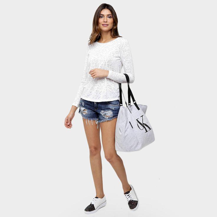 Bolsa Calvin Klein Shopper Moletom Logo - Cinza