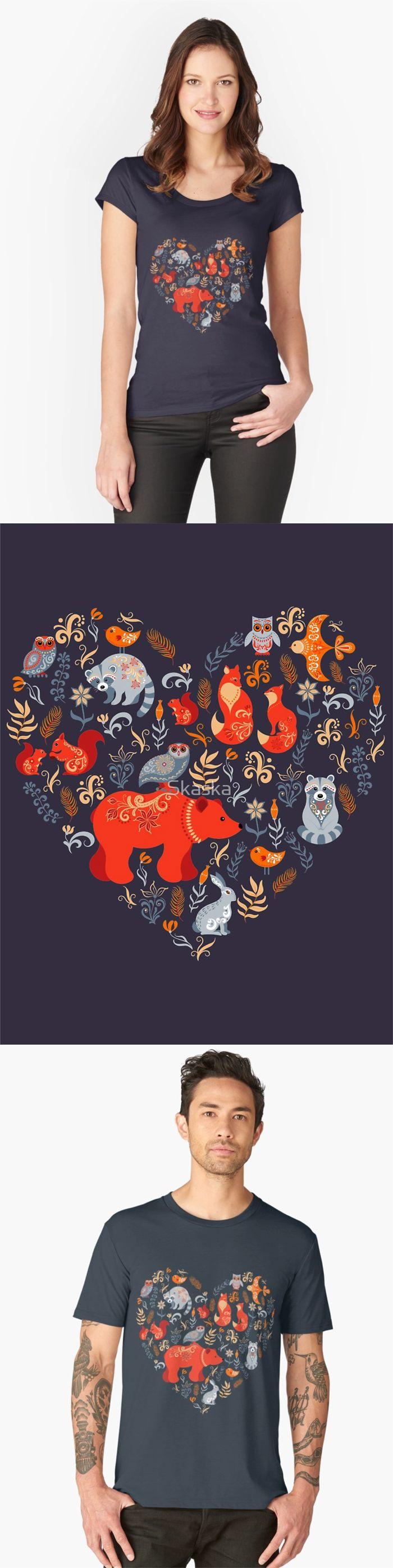 Fairy-tale forest. Fox, bear, raccoon, owls, rabbits, flowers and herbs on a blue background.