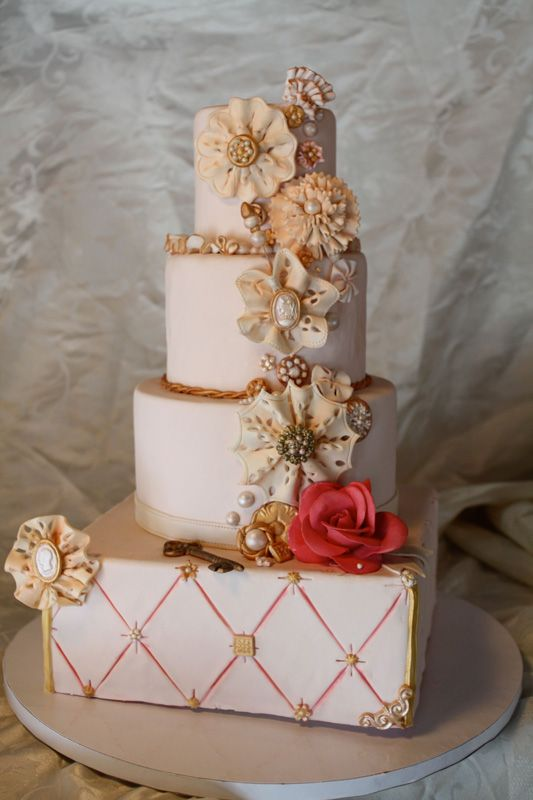 FAVORITE of all time. The Vintage theme, lace flowers and the warmth that this cake projects is breath taking.