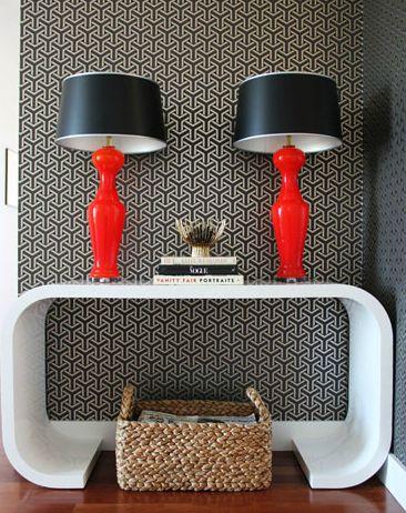 Lauren Nelson Design - entrances/foyers - white, console, table, glossy, red, lamps, black, geometric, wallpaper, woven, basket, white lacqu...