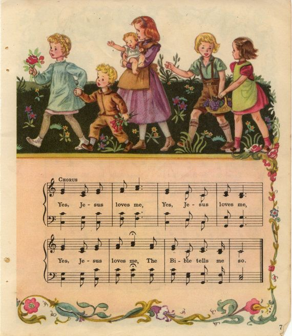 "Lovely ""Jesus Loves Me"" Vintage Hymns and Illustrations  - Dates 1940's"