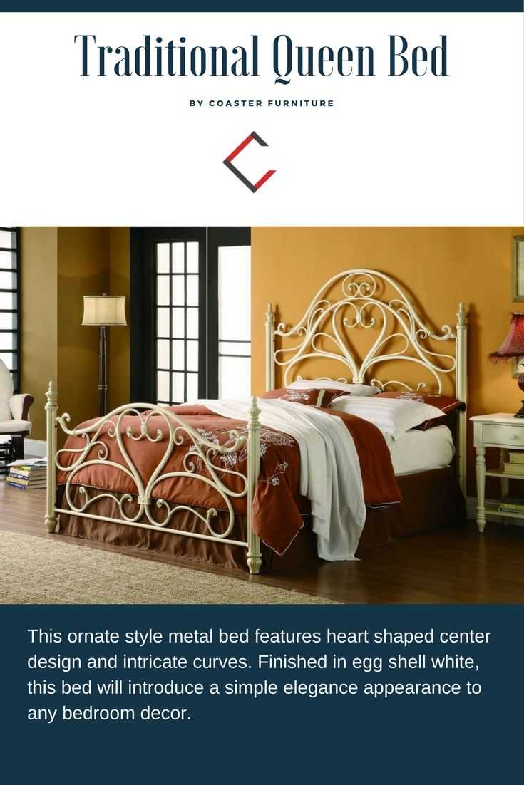 Traditional White Metal Queen Bed White Queen Bed Furniture Queen Beds