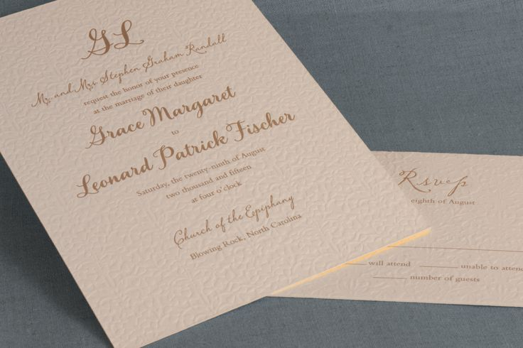 Delightful blooms are letterpress printed in the background of this invitation, printed with graphite ink.