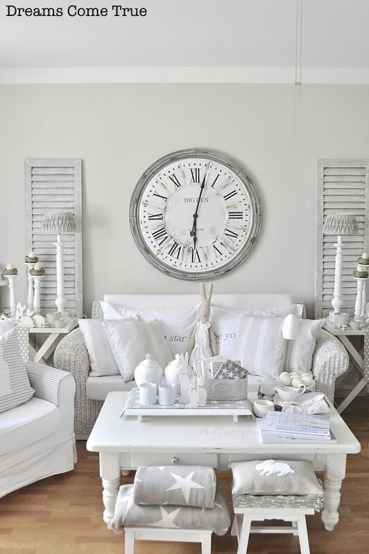 pin by countryarts more heidrun weber on living room white shabby pinterest clock. Black Bedroom Furniture Sets. Home Design Ideas