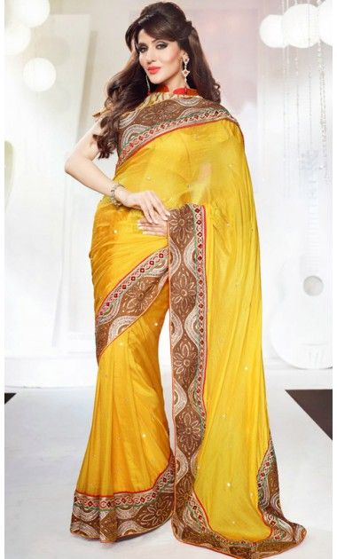 Divine Gold Color Embroidered Saree #Printed-Sari #Sarees-for-Women