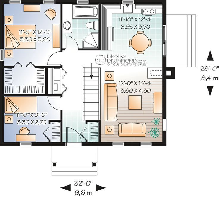 tiny home plan- would not need stairs so could use as closet. Current entry closet could then be door to living room