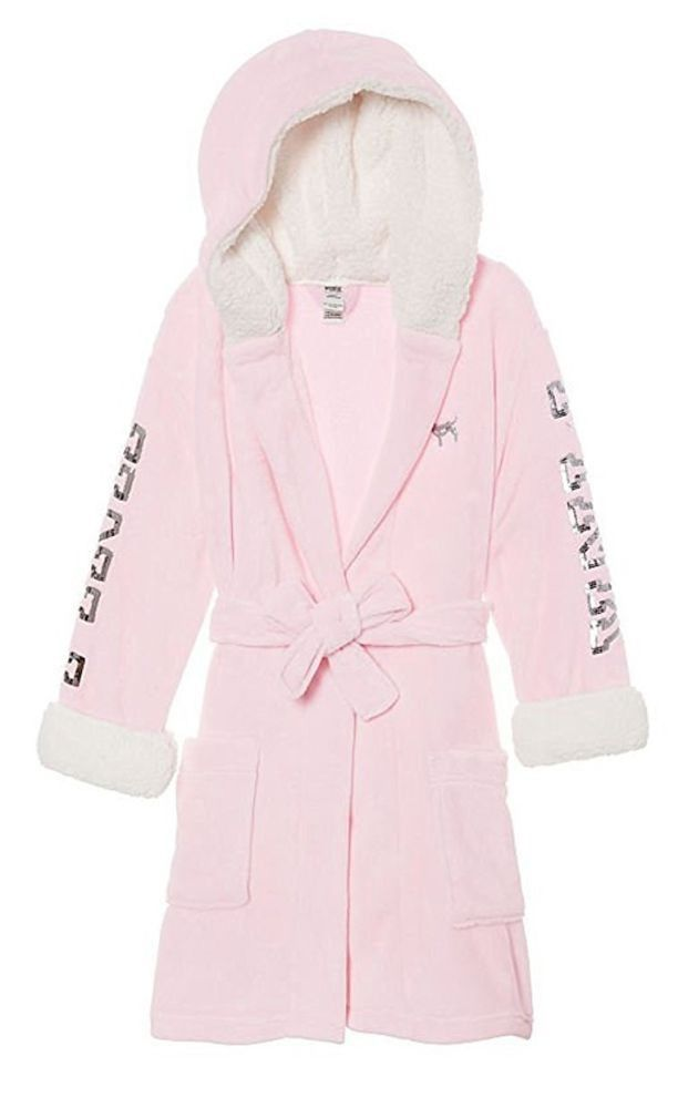 Victoria/'s Secret Luxe Sherpa Hooded Short Robe Ivory Size XS//S New