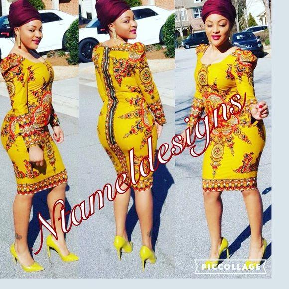 Ankara dress with dashiki fabric Afrocentric dress with dashiki fabric Dresses Midi