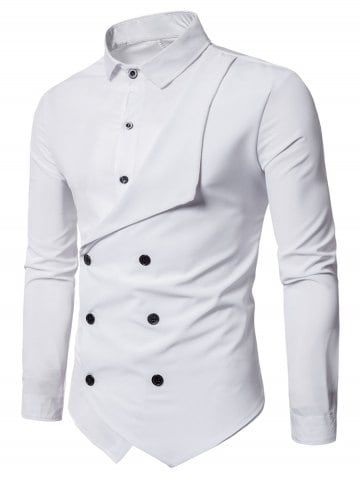 Long Sleeve Layered Double Breasted Shirt
