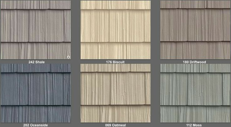 Vinyl siding that looks like wood shakes. Like oatmeal for lighter mid house color