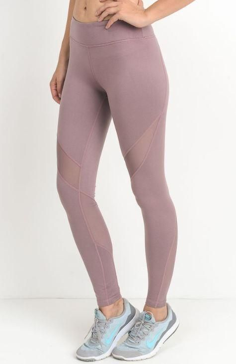 d7e4807ee42 Ankle Length Mauve Mesh Cut Out Yoga Legging Manufacture  Mono B Material   88% Polyester
