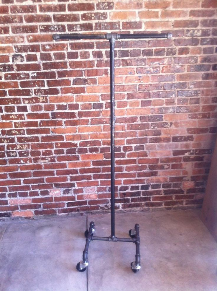 Vintage Rolling Clothing / Garment Rack Single Bar