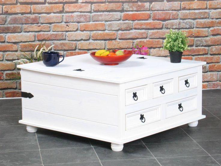 Een pronkstuk in de serie New Mexico: prachtige salontafel annex dekenkist Mexico wit. Een dekenkist met klep en laden, multifunctioneel en oogstrelend.