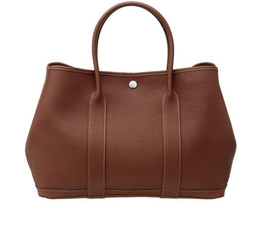 "Garden Party Indian brown Negonda leather 14x 10.25"" x 6.5"" Chevron canvas lining, silver and palladium Clou de Selle snap closure"""