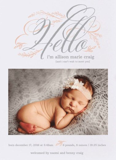 Hello Baby Birth Announcement. Baby. Design Fee by PartyGlamourShopBaby on Etsy https://www.etsy.com/listing/262624226/hello-baby-birth-announcement-baby