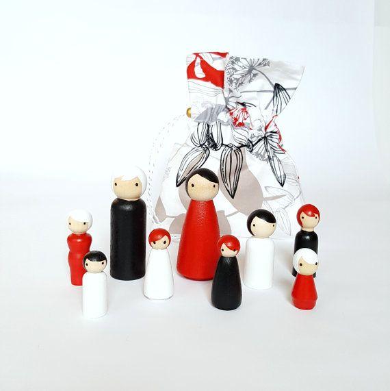 Peg pop ingesteld om te gaan met kleuraanpassing zorgzame / opslag zak - rood, wit, zwart - pretend play - doen geloven - houten poppen - klaar om te verzenden