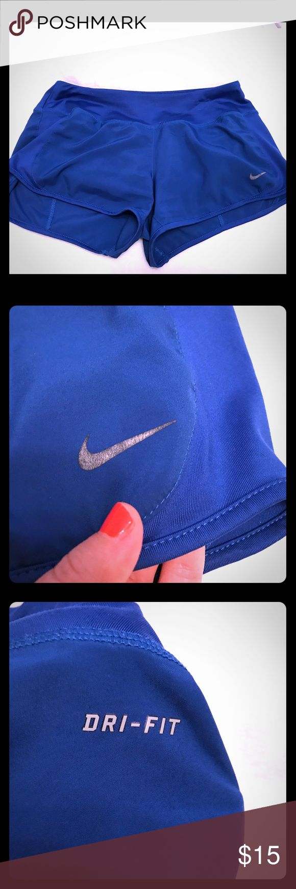 Nike Dri Fit Shorts Gently used Nike Dry Fit shorts in size small. These are in a cobalt blue color. They have a panty liner and are great for running. Has a small pocket detail in the back. The drawstring has been removed. Nike Shorts