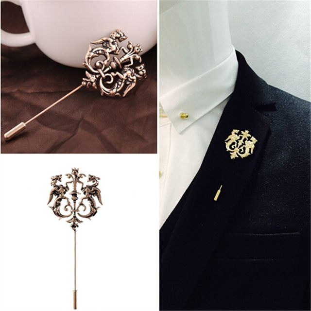 new men animal button cheap fashion metal product pin pins flower gold owl shirt stick lapel suit brooch online