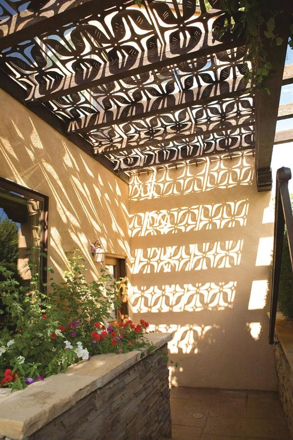 copper panels as ceilings in an arbor