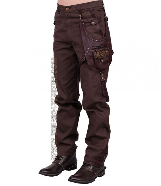 Brown steampunk mens trousers. Detachable, included pouch ...