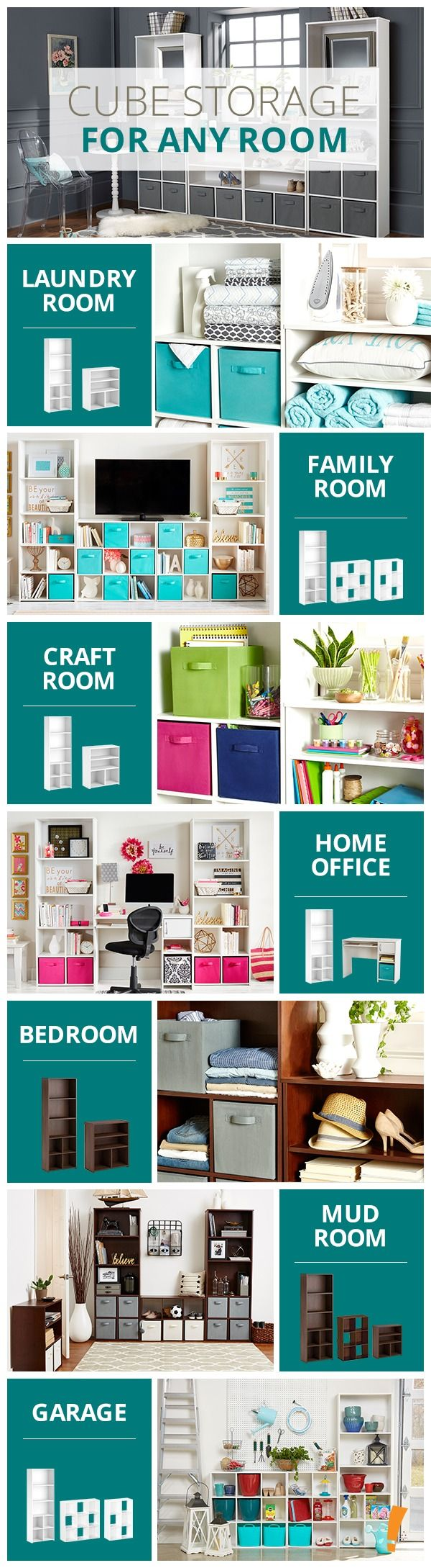 Organize any space with cube storage systems - craft room. laundry room. closet.