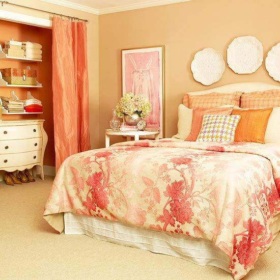 putty, coral, and pink: Ideas, Closet Spaces, Closet Doors, Guest Bedrooms, Closets, Colors Schemes, Bedrooms Closet, Guest Rooms, Girls Rooms