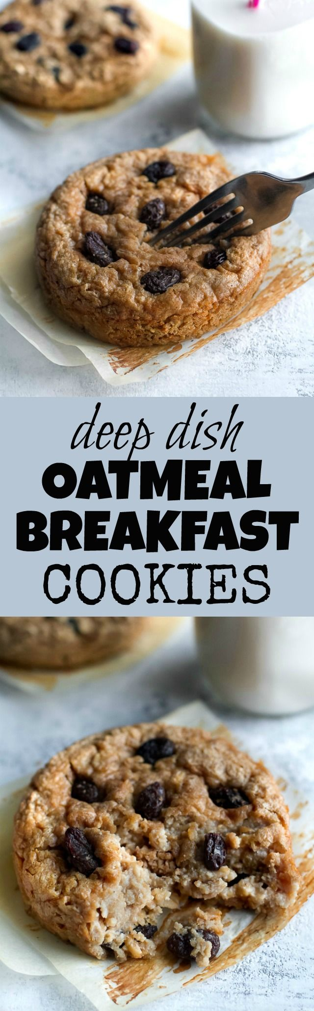 Ooey, gooey, and comforting! These Deep Dish Oatmeal Raisin Breakfast Cookies are a healthy way to enjoy dessert for breakfast and packed with complex carbs, protein, and fibre. Gluten-free & vegan. | runningwithspoons.com